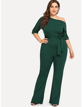 Plus Oblique Shoulder Solid Jumpsuit by Sheinside