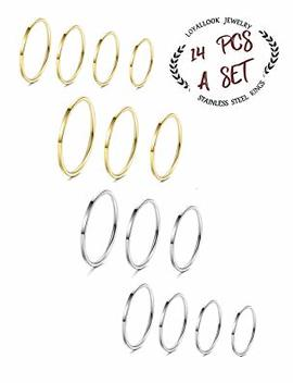 Loyallook 14 Pcs Thin Stacking Rings Stainless Steel 1 Mm Knuckle Midi Ring For Women Girls Silver Tone Gold Tone,Size 3 9 by Loyallook