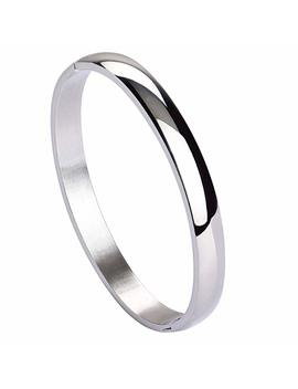 Jusnova Womens Mens Stainless Steel Brecelet Plain Polished Finish Cuff Bangle 7.3 Inches by Jusnova