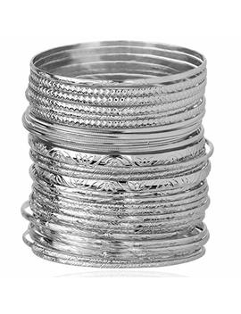 Lux Accessories Textured Heart Moon Infinity Multi Bangle Set (30 Pc) by Lux Accessories