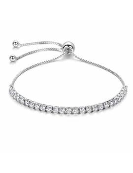 J.Fée Adjustable Sterling Silver Plated Bracelet Aaaaa Cubic Zirconia   [Gift Packaging] Ideal Gifts For Women by J.Fée