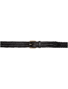 Black Woven Leather Belt by Brioni