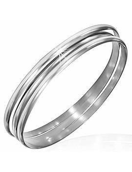 My Daily Styles Stainless Steel Silver Tone Three Stackable Womens Bangle Bracelets by My Daily Styles