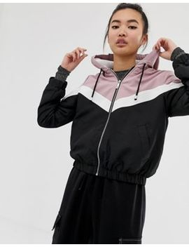 New Look Fleece Lined Windbreaker In Black by New Look