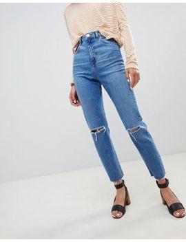 Asos Design   Farleigh   Smalle Mom Jeans Met Hoge Taille In Stonewashed Blauw Met Scheuren by Asos
