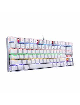 Redragon K552 W Kumara Led Rainbow Backlit Mechanical Gaming Keyboard Small Compact Gamers Keyboard 87 Key Metal Pc Computer Usb Wired Gaming Keyboard Cherry Mx Blue Equivalent Switches (White) by Redragon