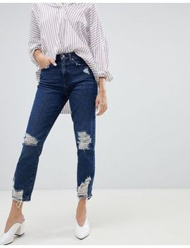Only   Destroyed Mom Jeans Met Hoge Taille In Blauw by Asos