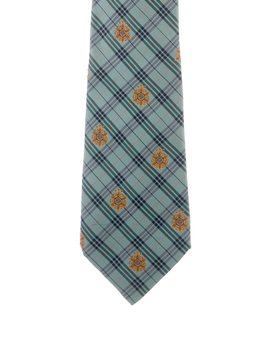 Floral & Plaid Print Silk Tie by Chanel