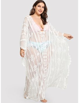 Plus Geo Embroidered Mesh Cover Up Dress by Shein