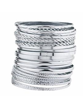 Lux Accessories Indian Wedding Multi Textured And Smooth Aztec Bangle Bracelet 24pc Set by Lux Accessories