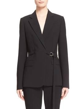 Wool Serge Belted Wrap Jacket by Michael Kors