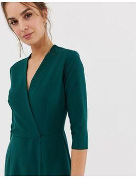 Closet – Grünes Kleid Mit 3/4 Ärmeln Und Schlitz In Wickeloptik by Asos