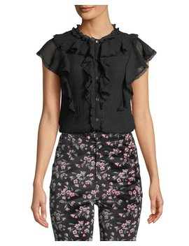 Silk Cotton Voile Ruffle Top by Rebecca Taylor