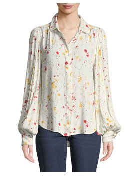 Marcilly Button Front Floral Print Blouse by Equipment