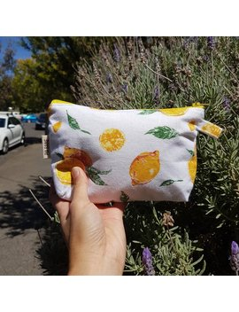Lemon Pouch, Zipper Bag, Zipper Pouch,  Cosmetics Bag, Pencil Case, Teachers Gift, Birthday Gift, Braidesmaid Gift by Etsy