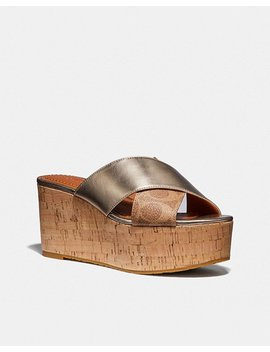 Cross Band Slide Wedge Sandal by Coach