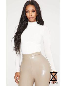 Shape White Corset Seam Detail Bodysuit by Prettylittlething