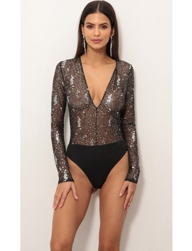 Pierre Plunge Mesh Bodysuit In Black Starlight by Lucy In The Sky