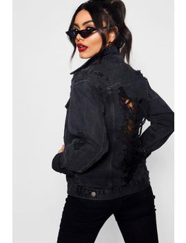 Meena Black Oversize Distressed Denim Jacket by Boohoo