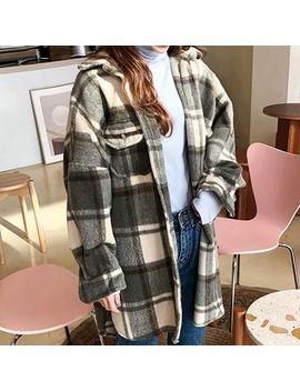 Icecream12   Flap Pocket Oversized Plaid Shirt by Icecream12