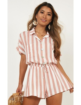 Island Vibe Playsuit In Red Stripe by Showpo Fashion