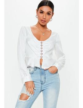 White Satin Hook And Eye Peplum Top by Missguided