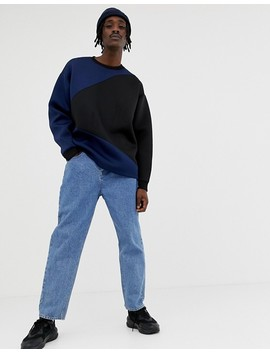 Asos Design Oversized Sweatshirt In Scuba With Colour Blocking by Asos Design