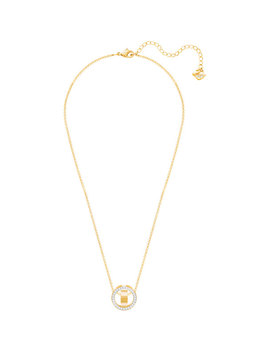 Hollow Pendant, Small, White, Gold Plating by Swarovski