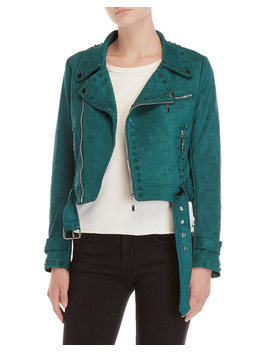 Emerald Studded Moto Jacket by Love Token