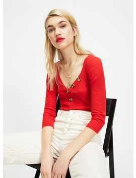 Red 3/4 Sleeve Ribbed Button Bodysuit by Miss Selfridge