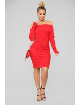Sara Midi Sweater Dress   Red by Fashion Nova