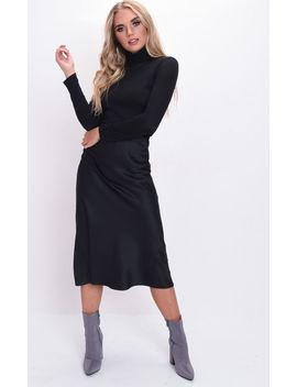 Silky Satin Midi Slip Skirt Black by Lily Lulu Fashion