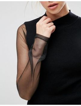 Asos Jumper With High Neck And Sheer Sleeve by Asos Collection