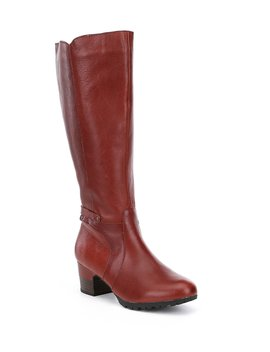 Chai Water Resistant Wide Calf Block Heel Riding Boots by Jambu