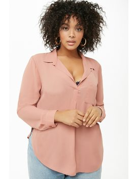 Plus Size Chiffon Collared Top by Forever 21