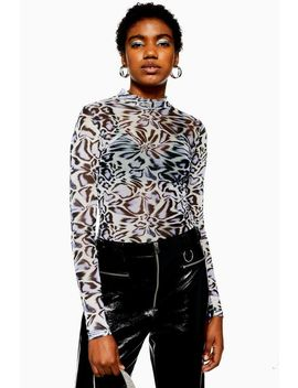 Animal Mesh Funnel Neck Top by Topshop