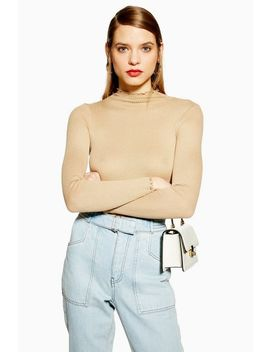 Long Sleeve Lettuce Ribbed Funnel Top by Topshop