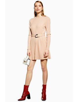 Ribbed Belted Mini Dress by Topshop