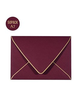 A7 Luxury Burgundy Invitation Envelopes 5 X 7   For 5x7 Cards| Self Seal| Perfect For Weddings, Invitations, Photos, Graduation, Baby Shower| 5.25 X 7.25 Inches by Wan
