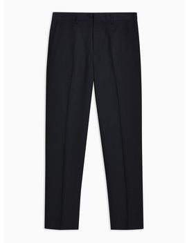 Navy Textured Tailored Trousers by Topman