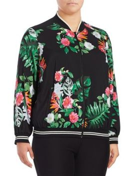 Plus Floral Printed Rich Jacket by Vince Camuto
