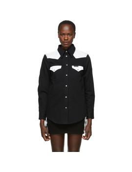 Black & White Denim Blocked Western Shirt by Calvin Klein Jeans