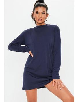 Navy Long Sleeve T Shirt Mini Dress by Missguided