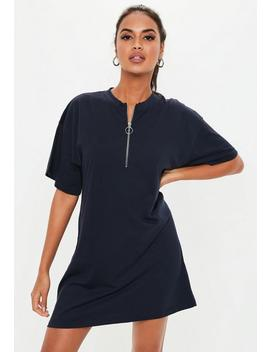 Navy Zip Front T Shirt Dress by Missguided