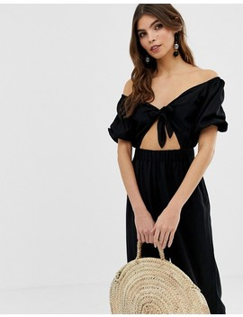 Asos Design Tea Jumpsuit With Puff Sleeve And Tie Detail by Asos Design