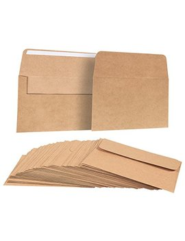 A7 Envelopes For Invitations   50 Count A7 Invitation Envelopes Bulk, Kraft Paper Envelopes For 5 X 7 Inch Photos, Wedding, Baby Shower, Party Invitations, Square Flap, Brown, 5.25 X 7.25 Inches by Best Paper Greetings