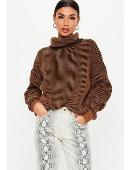 Rust Ribbed Roll Neck Jumper by Missguided