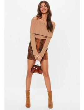 Taupe Chenille Ribbed Fold Over Bardot Jumper by Missguided
