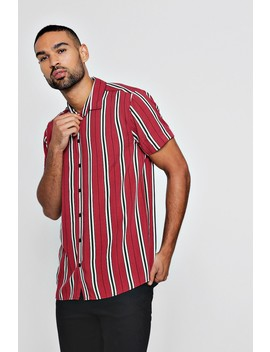 Short Sleeve Wide Stripe Shirt by Boohoo Man