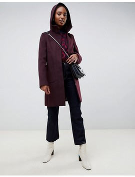 Asos Design Tall Zip Through Coat With Hood by Asos Design
